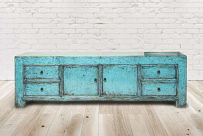 Sideboard Aveiro, Vintage Möbel, Altholz, Shabby Look, Rustikal, Altholz, Natur, Vollholz,200x44x60cm