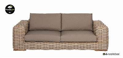 FFF Sofa 220 cm silk / taupe Gartenmöbel Rattan Gartenbank Bank Terrassenmöbel AppleBee