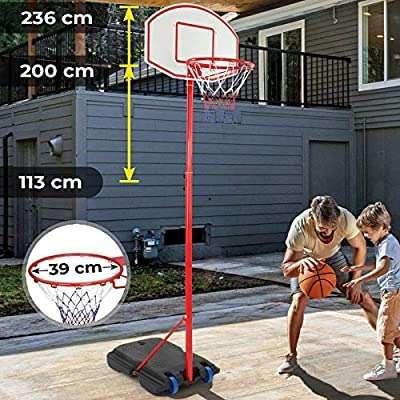 Basketballständer mit Rollen - höhenverstellbar 113 bis 236 cm, für drinnen und draußen - Basketballkorb mit Ständer, Basketballanlage, Hoop Stand für Kinder, Sport Spiel1230.....
