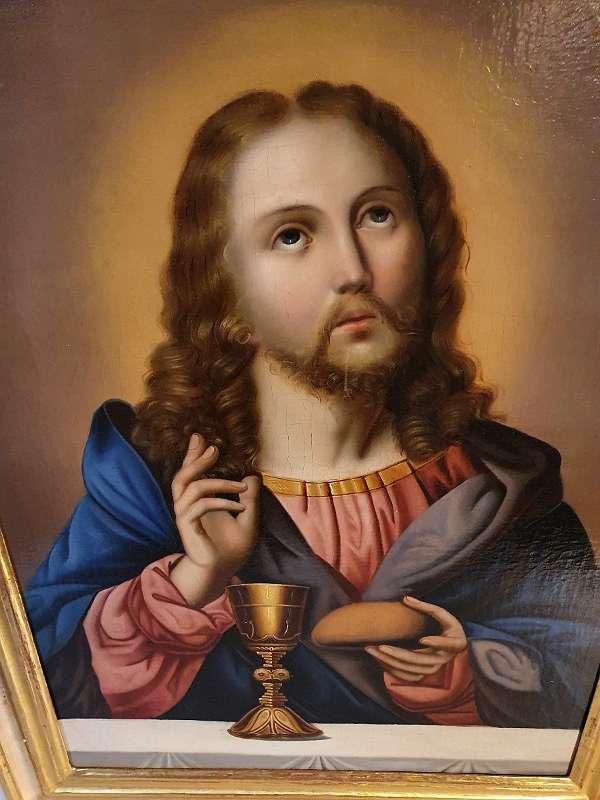 Jesus segnet Brot und Wein EUCHARISTIE Ölgemälde 19. JHDT