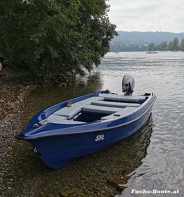 NEU lagernd 420 GFK DELUXE Fuchs BOOT Angelboot Fischerboot Familienboot Badeboot Ruderboot Motorboot 30 PS / Lod Lodi Clun Boot Bassboat mit 4 x großes Staufach bis 290 cm lang auf Wunsch mit Bootsanhänger Ankerwinde Anker Motor Persenning Zubehör I