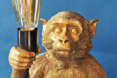 Exquisite und außergewöhnliche Affenlampe – Höhe ca. 50 cm Licht Leuchte Lampe Äffchen Dschungl Jungle Orient Indian Style Deko Geschenk gold Figur Tier