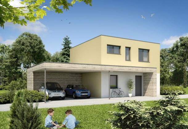 Zöfa Haus 100 Ziegelmassiv Mit Flachdach Fertigteilhäuser Auf